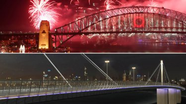 Is there a contest? An artist's impression of what the West Gate Bridge would look like lit up with lights - compared with the Sydney Harbour Bridge (top).