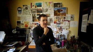 "Shaun Tan at his Brunswick home is nominated for an Oscar for his short animated film ""The Lost Thing""."