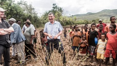 Tony Rinaudo in Ethiopia earlier this year; the reforestation scheme he pioneered is generating money there via the sale of carbon credits.