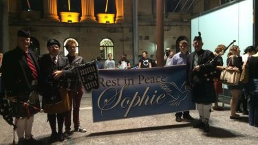 Crowds gather at King George Square ahead of a tribute march to Kurilpa Park for slain student Sophie Collombet.