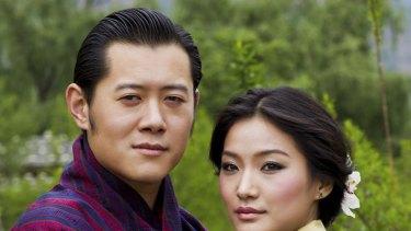 Bhutan's King Jigme Khesar Namgyel Wangchuck (L) and his fiancee Jetsun Pema pose in Bhutan.