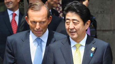 "Talks between the two leaders were ""exceptionally warm"": Australia's Prime Minister Tony Abbott and Japan's Prime Minister Shinzo Abe."
