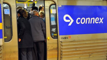 The big squeeze:  Commuters on Connex trains yesterday afternoon after the announcement that Connex has lost its licence to another company.