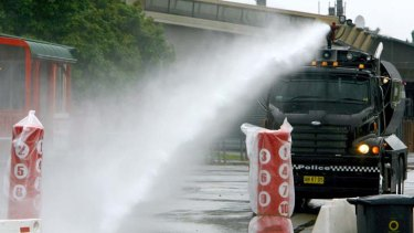 In the line of fire ...  the water cannon cost $700,000 and has never been used.