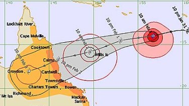 Cyclone Yasi's expected path and movement timeframe.