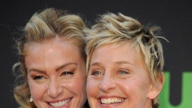 Mrs DeGeneres ... Portia De Rossi and wife Ellen DeGeneres.