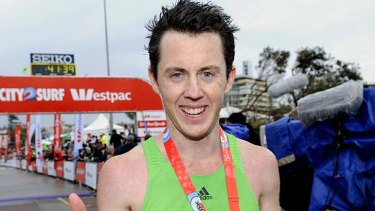 Liam Adams from Moonee Ponds, Victoria wins the men's section of the 2011 Sun-Herald City2Surf.