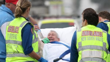 Anguish shows on the face of a resident after being evacuated from the nursing home.