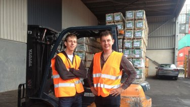 PayAus' Alex Ghiculescu (left) with co-founder Jake Phillpot. This was taken recently while visiting customer Interport Cargo, a logistics company at the Port of Brisbane.