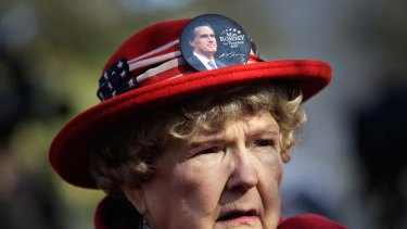 Maryann Riley waits at a campaign rally at Wofford College in Spartanburg, South Carolina.