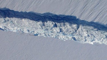 NASA's image of the crack spreading at a rate of two metres a day on the Pine Island Glacier.