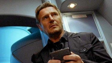Liam Neeson in a scene from <i>Non-Stop</i>.