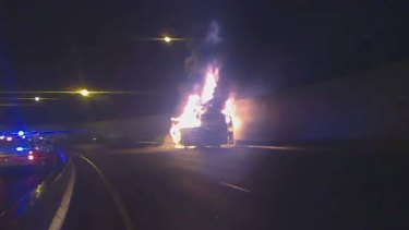 The burning bus caught on camera.