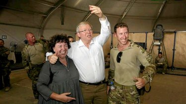 Prime Minister Kevin Rudd with his wife Therese Rein made a surprise pre-election visit to Australian troops serving in Tarin Kowt, Uruzgan province southern Afghanistan.