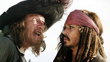 Geoffrey Rush and Johnny Depp star in  Pirates of the Caribbean: At World's End.