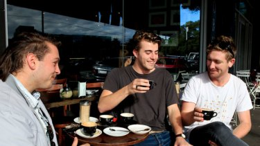 Good shots .... Tom Thorburn, left, Luke Kneller and Toby Miles enjoy a cup of coffee or five at Toby's Estate in Chippendale.