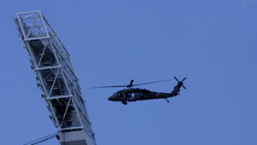 An Army Black Hawk helicopter circles the MCG on anti-terrorism exercises in 2006.