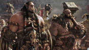 Orc chieftain Durotan (Toby Kebbell) leads his Frostwolf Clan alongside his second-in-command, Orgrim (Rob Kazinsky), in <i>Warcraft</i>.