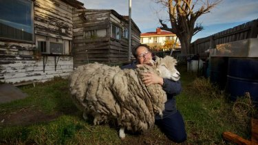 Vu Ho with Baa the sheep at their home in Springvale.