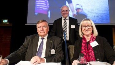 Max Moore-Wilton, left, incoming Sydney Airport chairman Trevor Gerber and chief executive Kerrie Mather at the AGM in Sydney on Thursday.