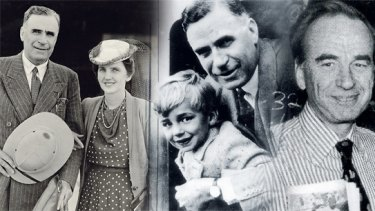 From left: Sir Keith Murdoch and wife Elisabeth in 1942; Sir Keith and a young Rupert; Murdoch celebrates the return of his <i>New York Post</i> in 1978 after a strike.