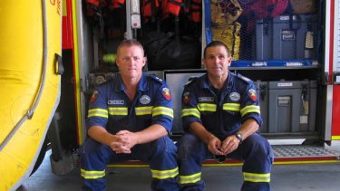 Firefighters Brad Mills (left) and Andrew Neil.