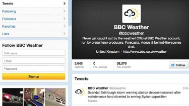 Hacked: The BBC Weather Twitter account.