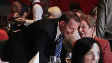 Opposition Leader Tony Abbott speaks at Monte Sant' Angelo Mercy College's Blue & Blue annual luncheon at NSW state parliament. <i>Picture: Glen McCurtayne</i>