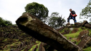 "Geologist Danny Hilman at the Gunung Padang site, ""the largest megalithic structure in south-east Asia""."