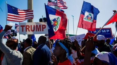 Demonstrators and Trump supporters amassed near Mar-A-Lago during Donald Trump's stay on the Monday holiday.