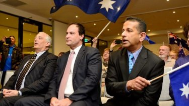 UK climate change skeptic Christopher Monkton (left), independent Frankston MP Geoff and Rise Up Australia leader Danny Nalliah.