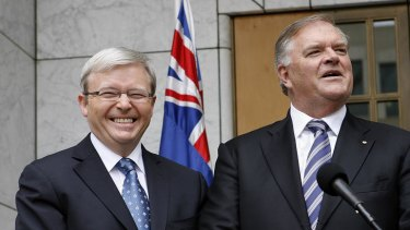 Moves against Kevin Rudd, left, was not part of 'official' talks between Australia's ambassador to the US, Kim Beazley, right, and US Secretary of State Hillary Clinton in the says before the coup.