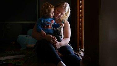 War widow Vicki Hopkins with her son Alex.
