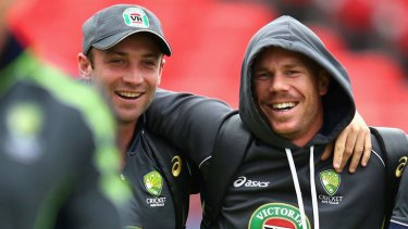 Two of Australia's top three? Phil Hughes (left) with the man who replaced him in the Australian team, David Warner.
