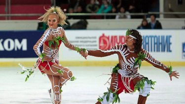 Outcry over their Aboriginal routine ...  Oksana Domnina and Maxim Shabalin of Russia.