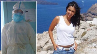 Shaken by the experience ...  Natalia D'Morias, 25, from  Seven Hills, on a holiday in  Greece, and (inset) one of the  doctors tending to her at a  Chinese hospital.