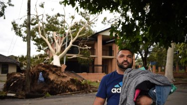 Moustafa Noureddine, his wife and five children were in their Ingram Avenue home in Bankstown when a big gum fell on the house.