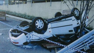 Fatal car accident: Vehicle plunged nine metres after being reversed through a barrier.