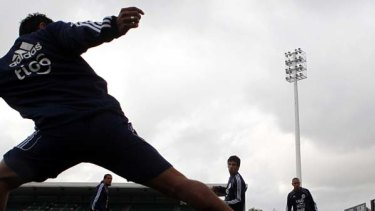 Mr Nice Guay ... Nelson Haedo Valdez in training with his Paraguay teammates at Parramatta Stadium.