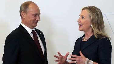 Mr Putin and Ms Clinton during a meeting in September.