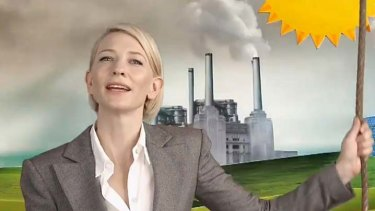 Cate Blanchett in the carbon-tax advertisement.