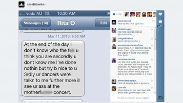 A tweeted Instagram from rapper Azealia Banks of a text message Rita Oral purportedly sent her.