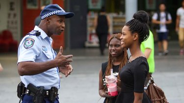On the ground: An officer in Blacktown.