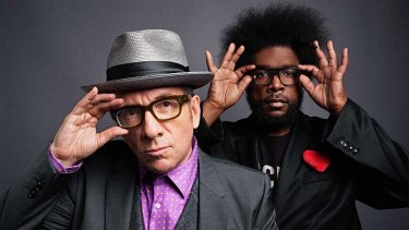 Surprise collaboration: Elvis Costello and Questlove from <i>The Roots</i>.