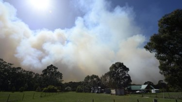 CFA firefighters protecting a property off Feeney's lane, Benloch where fires are still out of control.