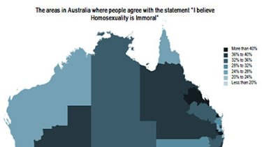 """A map showing response rates to a survey on people who find homosexuality immoral. For the full results <a href=""""http://images.brisbanetimes.com.au/file/2010/11/15/2045177/immoral.pdf?rand=1289799771462""""><b>click here</a></b>."""