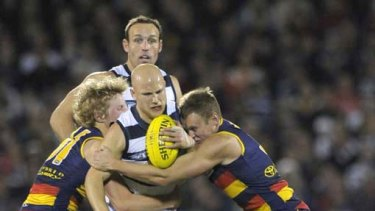 Geelong star Gary Ablett is tackled by Crows' Rory Sloane (left) and Brent Reilly in last night's match.