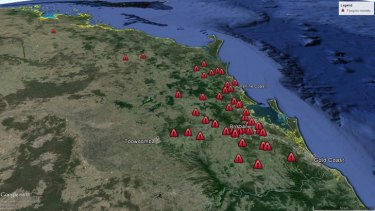 Locations of flying fox mortality in southeast Queensland on January 4, 2014.