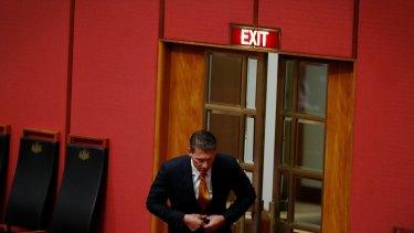 Cory Bernardi departs the Senate at Parliament House.