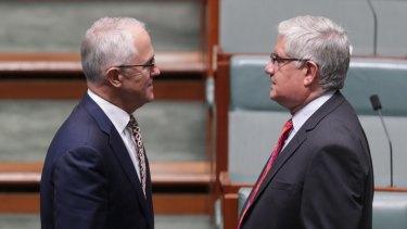Prime Minister Malcolm Turnbull and minister Ken Wyatt,